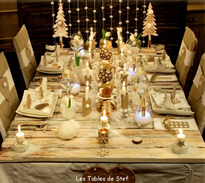 Table de f te de fin d ann e j 2 confidences entre - Decorations de table pour noel ...